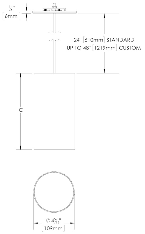 DCC2 LED Cylinder Ceiling Pendant Lighting Dimensions Diagram