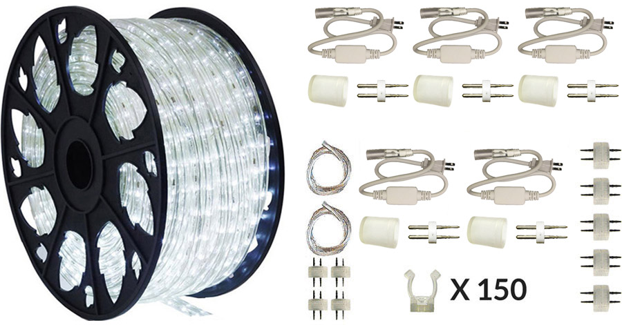 LEDROPEKITS-CW-DLX LED Cool White Rope Light Deluxe Kit