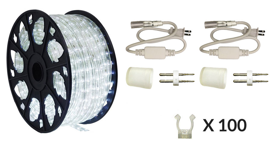 LEDROPEKITS-CW-PREM LED Cool White Rope Light Premium Kit